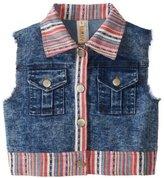 Truluv Big Girls' Denim Vest with Stripe Patchwork