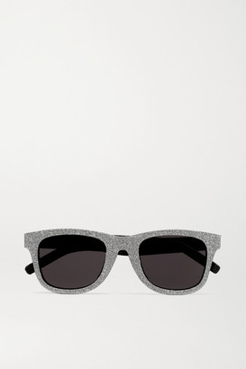 Saint Laurent Square-frame Glittered Acetate And Leather Sunglasses - Silver