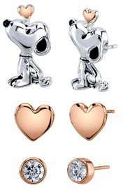 Peanuts Unwritten Three Pair Silver Plated Snoopy Earring Set with Rose Gold Heart and Cz Bezel Stud