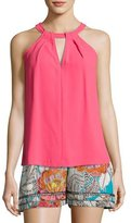 Trina Turk Quince Sleeveless Pleated Crepe Top, Pink