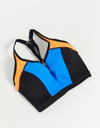 Pour Moi? Pour Moi Fuller Bust Energy lightly padded colour block underwire sports bra in blue/orange