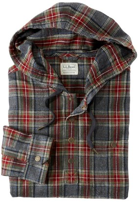 L.L. Bean Men's Scotch Plaid Flannel Shirt, Hooded Pullover, Slightly Fitted