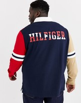 Tommy Hilfiger Big & Tall hale long sleeve rugby in khaki/red