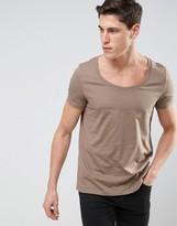 Asos T-Shirt With Deep Scoop Neck In Beige