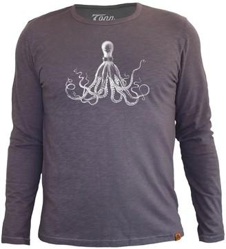 Tonn Octopus Long Sleeve Tee In Grey