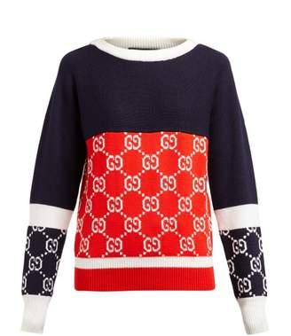 Gucci Gg-jacquard Wool Sweater - Womens - Navy Multi