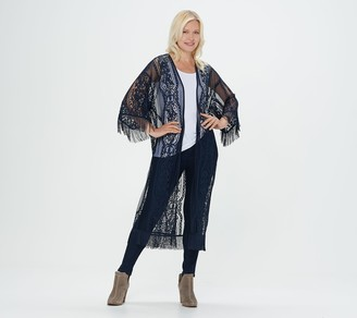 G.I.L.I. Got It Love It G.I.L.I. 3/4 Sleeve Lace Kimono with Fringe Detail