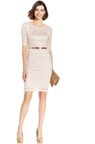 Connected Petite Belted Metallic Chevron-Lace Sheath