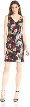 Andrew Marc Women's Sleeveless Printed Sequin Dress