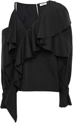Thierry Mugler Cold-shoulder Ruffled Cotton-poplin Blouse