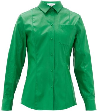 MSGM Faux-leather Overshirt - Womens - Green