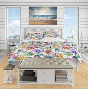 Design Art Designart 'Modern Seashells Pattern' Nautical and Coastal Duvet Cover Set - Queen Bedding