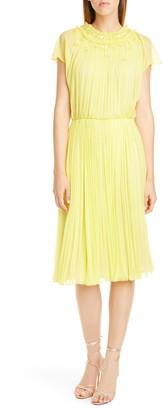 Jason Wu Collection Embellished Crinkle Silk Chiffon Dress