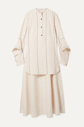 Palmer Harding Echo Asymmetric Striped Woven Shirt - Beige