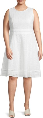 Calvin Klein Collection Plus Sleeveless Cotton Fit-&-Flare Dress