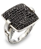 John Hardy Classic Chain Black Sapphire & Sterling Silver Cushion Ring