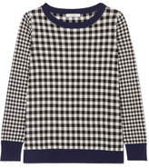 Max Mara Gingham Silk And Cashmere-blend Sweater - Black