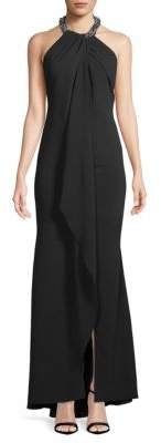 Carmen Marc Valvo Sleeveless Silk Halter Gown