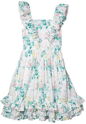 Janie and Jack Flutter Sleeve Floral Dress (Toddler/Little Kids/Big Kids) (White) Girl's Clothing