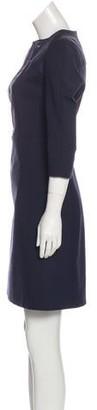Victoria Beckham Woven Flared Dress Navy