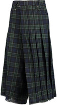 R 13 Wrap-Effect Pleated Wool-Flannel Culottes