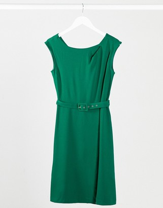 Closet London Closet wrap skirt A-line dress in green