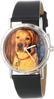 Whimsical Watches Kids' R0130081 Classic Yellow Labrador Retriever Black Leather And Silvertone Photo Watch