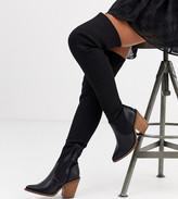 Asos Design DESIGN Wide Fit Kansas western thigh high boots in black