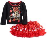 "Disney Disney's Minnie Mouse Baby Girl Glittery ""Bows"" Graphic Tee & Ruffle Tutu Skirt Set"