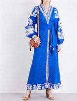 Yuliya Magdych Swan embroidered linen maxi kaftan