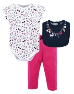Little Treasure Baby Bodysuit, Pant and Bib, 3 Piece Set
