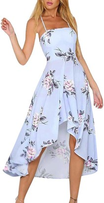 Weant Women's Dresses Chiffon Floral Print Open Back Strappy Swing Maxi Dresses for Ladies Beach Party Sun Dress Evening Cocktail Dress for Women Jumper Sale Teen Girls (XL