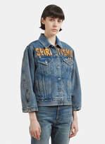 Gucci Spiritismo Archive Print Denim Jacket in Blue