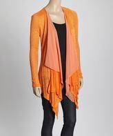 Orange Burnout Sidetail Open Cardigan