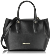 Francesco Biasia Alicia Black Leather Tote Bag w/Wool Lining