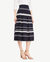 Ann Taylor Tall Stripe Pleated Midi Skirt