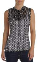 Tommy Hilfiger Womens Woven Tie Neck Dot Blouse