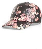 BP Women's Floral Faux Leather Baseball Cap - Black