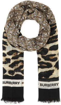 Burberry Monogram Print Large Square Scarf