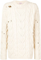 Palm Angels distressed cable knit jumper