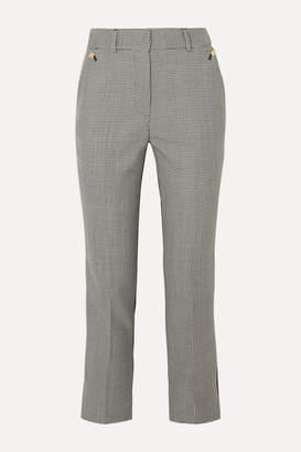 Petar Petrov Helen Twill-paneled Houndstooth Merino Wool Straight-leg Pants - Gray
