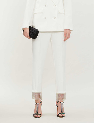 Topshop Diamante-fringed tapered high-rise crepe trousers
