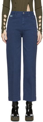 ALEXACHUNG Blue Cropped Wide-Leg Jeans