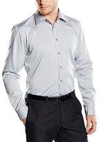 Bugatti Men's Regular fit Long Sleeve Formal Shirt - Grey -