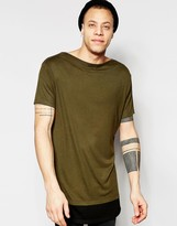 Asos Super Longline T-Shirt With Boat Neck And Contrast Hem