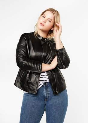 MANGO Violeta BY Quilted panels leather jacket black - XS - Plus sizes
