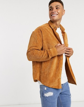 ASOS DESIGN oversized 90s style cord shirt in mustard