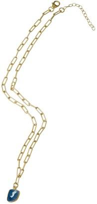 ADORNIA 14K Yellow Gold Vermeil Jagged Cut Blue Sapphire Link Chain Pendant Necklace