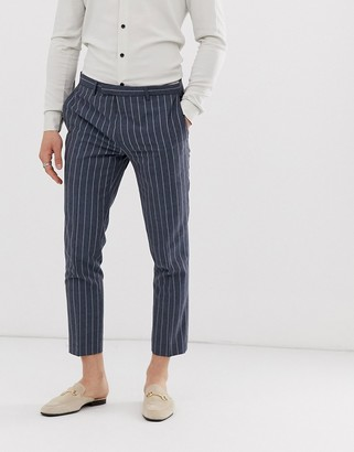 Twisted Tailor tapered cropped suit pants in blue pinstripe