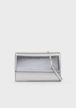 Emporio Armani Mini Shoulder Bag In Laminated Faux Nappa Leather